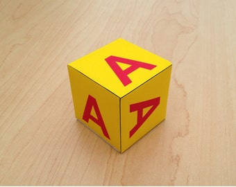 Printable  Alphabet Blocks - 26 English Alphabets -Block Letters from A to Z - 3d paper blocks