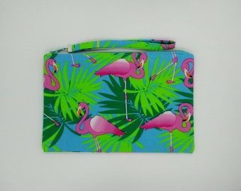 Tropical Pink Flamingo with green leaves print clutch, purse