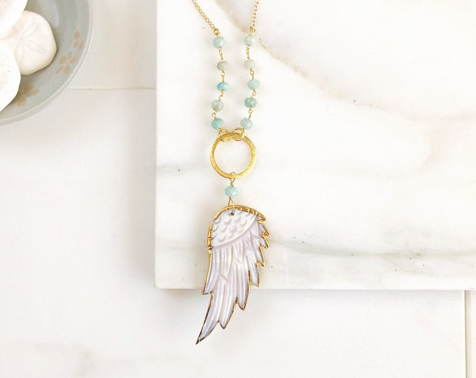 Wing Necklace. Long Boho Wing Necklace in Gold. White Wing Necklace with Amazonite Stones. Pendant Necklace in Blue and Gold. Boho Chic.