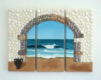 Acrylic Painting, Artwork with Seashells, Triptych of Archway & Urn in Seashell Mosaic on Sand, Mosaic Art, 3D Art Collage, Wall Decor