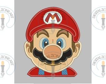 Mario Bros Portrait Head-Machine Embroidery Designs - INSTANT DOWNLOAD