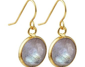 Round dangle earrings plated gold - labradorite