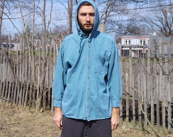 90's BLUE HOODED BUTTON up long sleeve pocket oxford shirt size extra large