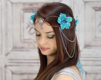 Aqua Blue Elven Crown, Elven Headdress, Blue Fairy Headpiece, Flower Crown with Silver Detail, Headdress, Cosplay, Costume Headpiece, Fairy