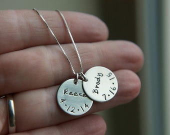 Sterling Silver Two Kids Name Birthdate Disc Necklace, Family Necklace, Custom Birth Date Necklace, Personalized Simple Everyday Mom Jewelry