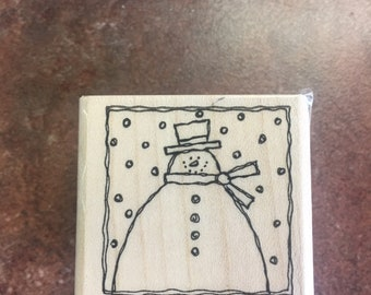 Stampin Up 2004 Snowman Retired Festive Four Collection Rubber Stamp