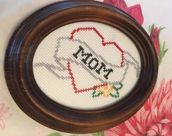 Mom Tattoo Heart Finished Cross Stitch