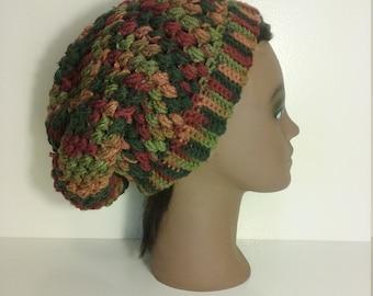 Autumn color Crochet slouchy hat