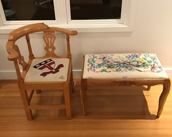 Wooden bench or chair to accompany your needlepoint