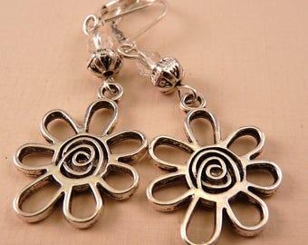 Flower Earrings Silver Earrings Beaded Earrings Beaded Jewelry Flower Jewelry Silver Jewelry Metal Jewelry Crystal Earrings Crystal Jewelry