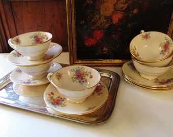 Six Lenox Aurora Teacups and Saucers, Vintage Teacups, Tea Party Decor, Floral Cups, Cottage Chic, Mother's Day Gift