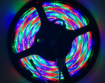 Lot 5m RGB Colorful LED Strip Color Changing, 24 key Remote, Control Box, Power Supply Adapter, Blister Box Packing | Steampunk Lamp Parts