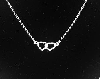 Sterling Silver Double Heart Necklace - #110