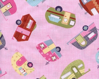 Motor Homes Timeless Treasures Cotton Fabric C2328 Pink, By the Yard