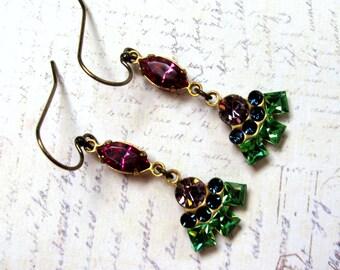 Rhinestone Earrings, Swarovski Earrings, Vintage Earrings, Multi Rhinestone Earrings, Pink Earrings, Green Earrings, Downton Abbey
