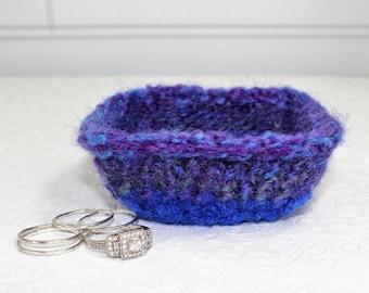 Blue and Purple Knit Felt Ring Bowl,  Mini Wool Ring Bowl,  Blue Ring Bowl, Small Knit Ring Bowl, Blue Felt Wool Bowl, Purple Wool Bowl