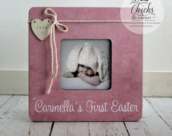 Babys First Easter Picture Frame, Easter Picture Frame, Personalized Easter Frame