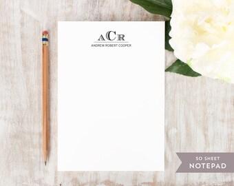 Personalized Notepad - ENGRAVED MONOGRAM  - Stationery / Stationary Notepad