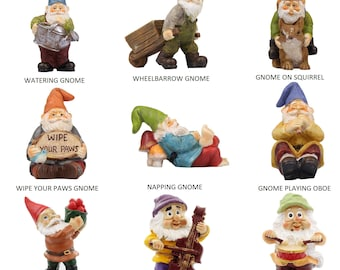 Fairy Garden Miniature Gnomes - 9 Different Gnomes to Choose From