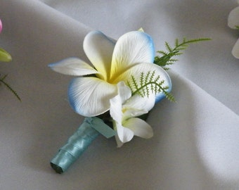 Plumeria Boutonniere Corsage Real Touch Destination Wedding Choice of Colours