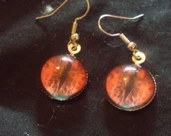 Red Dragon Eye Earrings, Dragon Eye Jewelry, SciFi Jewelry, Fantasy Jewelry, Small Red Dragon's Eye Earrings