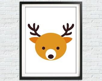 Digital Download Nursery Animal Print, Deer Animal Printable Kids Wall Art, Instant Download Kids Art, Deer Nursery Printable Wall Art