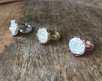 CLEARANCE  15mm adjustable druzy rings, druzy ring, faux druzy ring