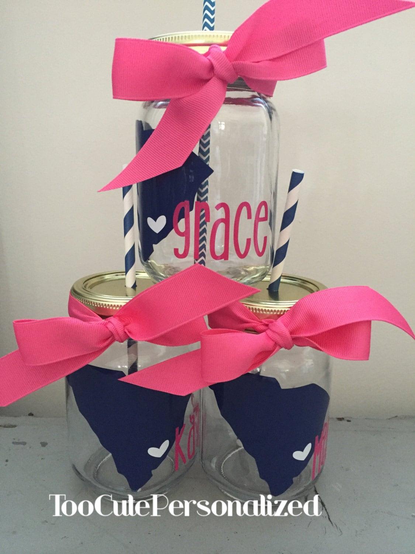 Personalized State Mason Jar Cup w/ Straw
