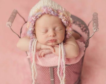 Boheme Knit Bonnet Newborn Girl Photo Prop Baby Hand Knitted Shower Gift Infant Going Home Hat Spring Coming Hood Organic Photography Cap