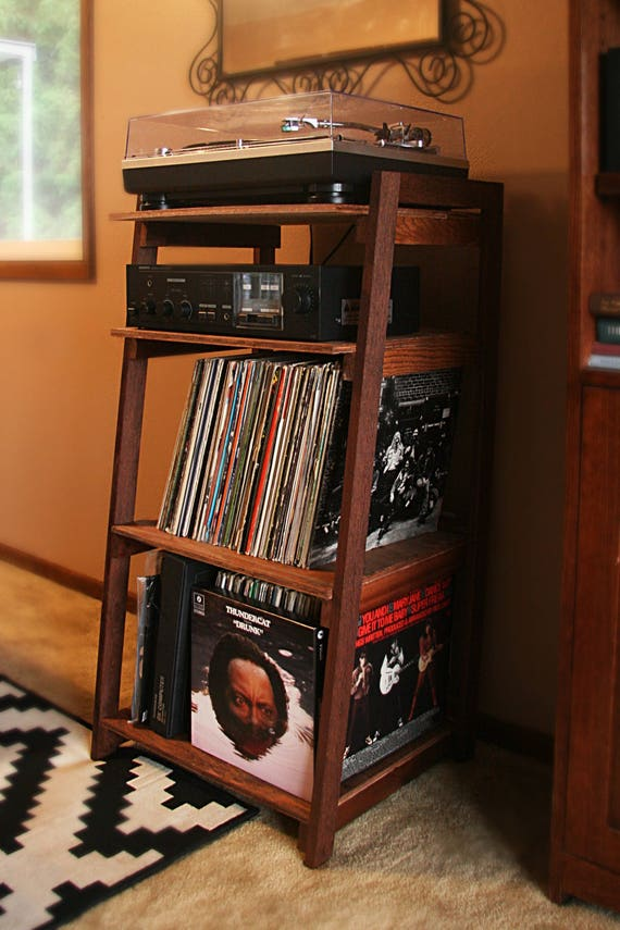 Record Player Stand And Wooden Turntable Shelf Handmade With