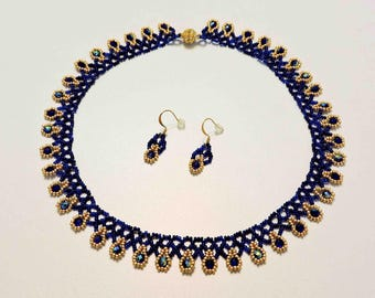Ukranian Bead Netted Necklace and Matching Earrings in Royal Sapphire Blue and Gold