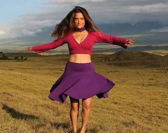 Women's Circle Skirt - Organic Cotton Soy Spandex - Purple -  Eco Friendly - Organic Clothing - Several Colors Available