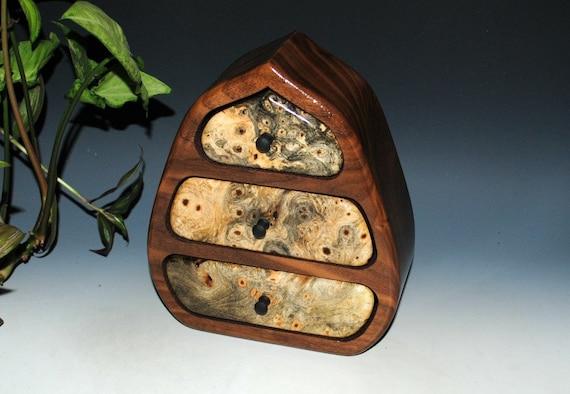 Small Wood Jewelry Box - Buckeye Burl and Walnut Pod Style Wooden Jewelry Box- Handmade Jewelry Box by BurlWoodBox- Wood Jewelry Boxes, Box