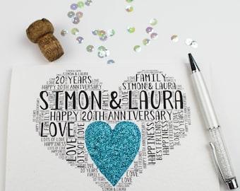 20th Wedding Anniversary Personalised Card