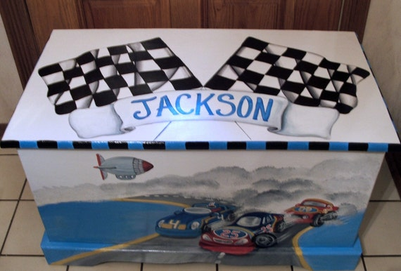 Race car toy box toy chest custom designed kids room decor for Personalized kids room decor