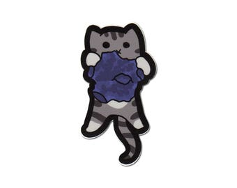 Space Cat Vinyl Sticker Large Size Kitty on Meteor Cat cute Sticker Car Sticker Bumper Sticker Laptop Decal