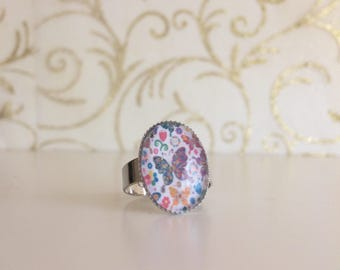 Adjustable butterfly Ring multicoloured cabochon