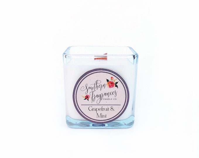 Featured listing image: Grapefruit & Mint Wooden Wick Soy Candle | 12oz Candle