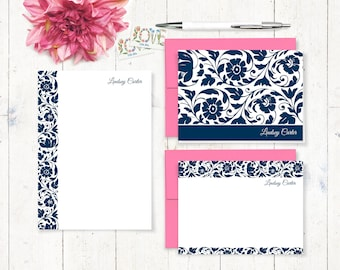 Personalized Stationery Set - notepad and notecard stationery set - women's boxed stationary set - stationery gift set - LOVELY LINDSEY