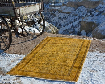 Living room rug, distressed rug, moroccan rug, runner rugs, oushak rug , overdyed rug,  kilim rugs, small turkish rug, 6.9 x 4  Feet AG239