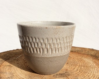 Ceramic Cup with beautiful Pattern - Yunomi - Tumbler - Tea Cup, Coffee Cup or Wine Cup without handle - Handmade Stoneware Ceramics