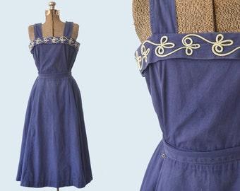 1940s Blue Cotton Sundress size M