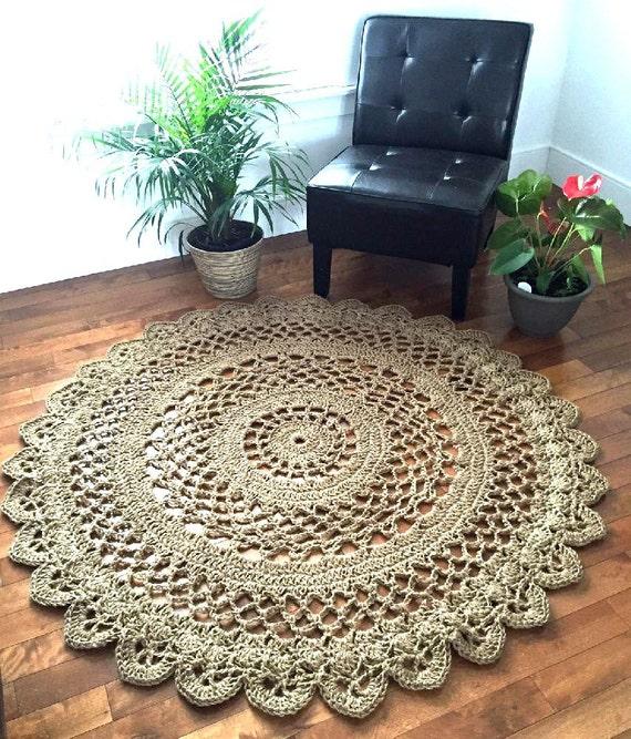 Washable Jute Rugs: Giant Crochet Doily Rug Giant Jute Rug Large Jute Rug 4.10