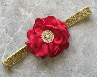 Gold red headband, Gold baby hair bow, flower headband, baby headband, shabby chic roses, lace headband, baby girl headband, hair bows