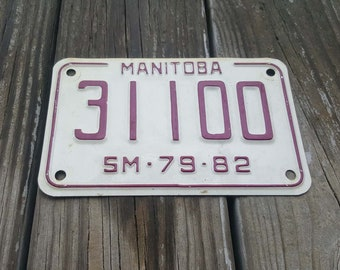 Vintage 1979-82 MANITOBA Canada Snowmobile License Plate - Man Cave Decor