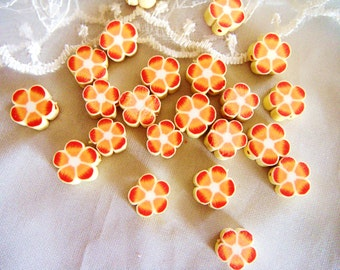 Fimo Polymer Clay Round Flat Beads Colorful Yellow Orange Flowers 10mm approx. - 10 pieces