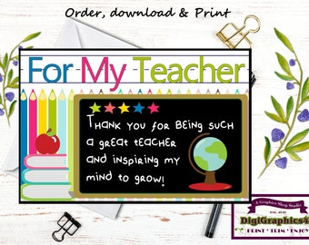 End of the School Year Teacher Appreciation Card Digital File - Instant Download