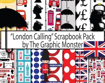 London Digital Paper, British Paper, Scrapbook Paper, London Scrapbook Paper, British Paper, Instant Download, Digital