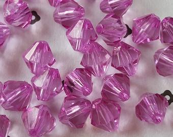 10mm Acrylic Purple Bicone Beads (40)