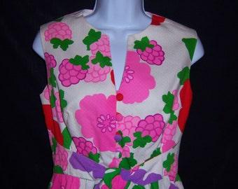 Vintage Malia Pink Green Purple Red Hawaiian Floral Flower Print Sun Dress 4 6 Small